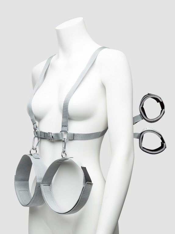Silver Seduction Body Harness with Wrist and Thigh Restraint
