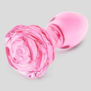 Lovehoney Full Bloom Large Rose Glass Butt Plug 4 Inch