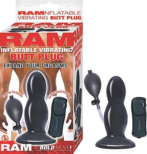 Ram Inflatable Vibrating Butt Plug - Black
