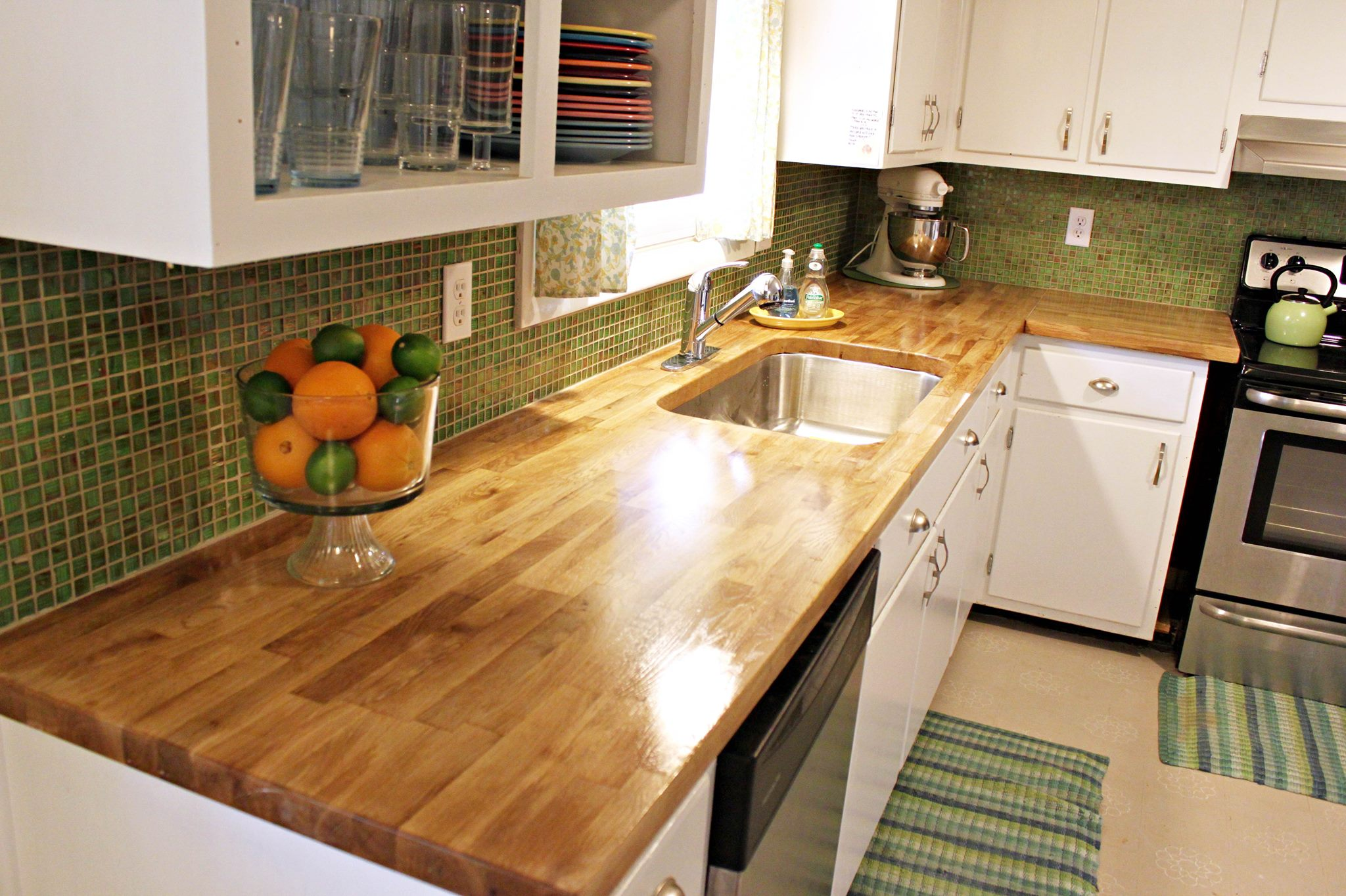 distressed kitchen island butcher block movable ikea countertops great option for any ...