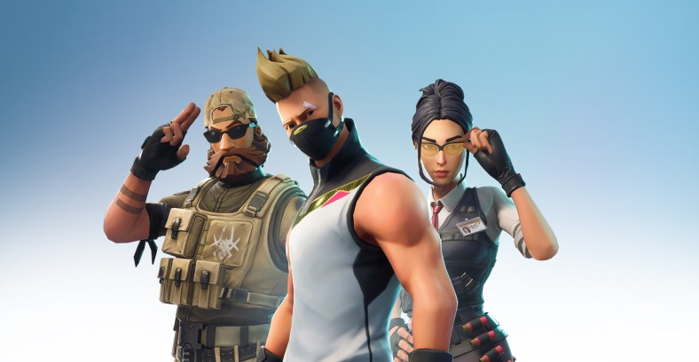 3 Fortnite characters standing in a group