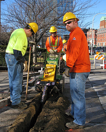 Trenching for a fiber optic installation in Wo...