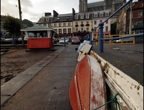 Cobh boats and cathedral