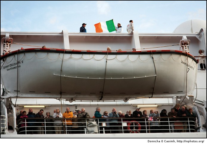 Flying the Irish Tricolour on the QE2