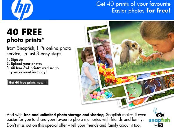 HP Snapfish 40 free prints