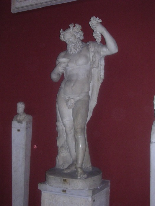 Dionysus, or Bacchus to the Romans, was the Greek God of wine.  Can't you tell?  He is often depicted with Maenads, his female followers, and Satyrs, creatures with the body of a man but with a horse's ears and tail.  They are often shown drinking and partying and enjoying the occasionally orgy.  Why not?