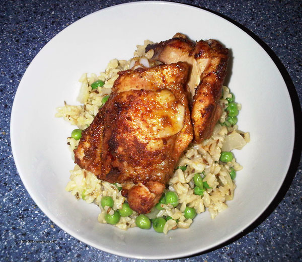 Tandoori style chicken with pilaf rice