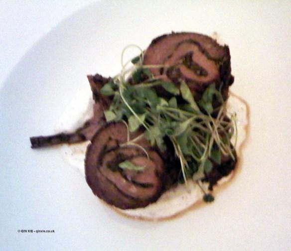 Braised lamb belly with mixed mushrooms and sumac at Nopi