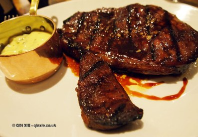 Rump steak with Bearnaise sauce at Bistro du Vin, Soho