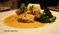 Slow braised beef accompanied with 'Pak-Choy', shiitake mushrooms and fragrant rice at Patara, Greek Street