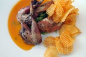 Pot roasted grey leg partridge, cep risotto and game chips, sauced with rosemary at Philip Britten lunch, Fortnum & Mason