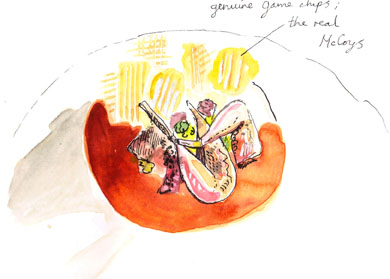 Illustration of pot roasted grey leg partridge, cep risotto and game chips, sauced with rosemary at Philip Britten lunch, Fortnum & Mason