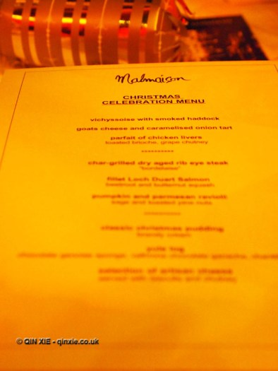 Christmas Celebration Menu at Malmaison, London