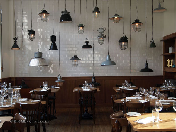 Hanging lights along the backwall at The Corner Room