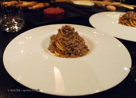 Bigoli buckwheat pasta with duck ragu at Dego, London