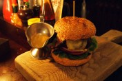 Burger with sauce at Fox and Anchor, Clerkenwell