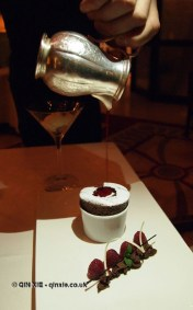 Chocolate soufflé, vanilla tahiti and raspberries at Apsley's, The Lanesborough Hotel