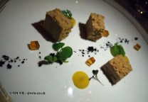 Foie gras terrine with smoked apple amaretti at Apsley's, The Lanesborough Hotel
