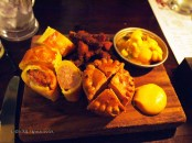 Sausage roll, pork pie, piccalilli and pork scratchings at Fox and Anchor, Clerkenwell