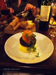 Tucker Browns black pudding, crispy poached egg and champ at Fox and Anchor, Clerkenwell