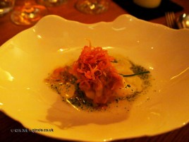 Cod tripe with onion and potatoes, Mauro Colagreco and Nuno Mendes at Viajante