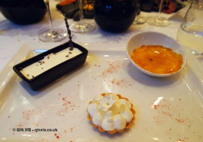 Trio of floral desserts, Laurent Perrier Tous Les Sense at Massimo, The Corinthia, London