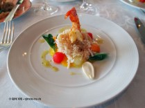 Flaked Devon crab with melon and fresh almonds, served with a marinated prawn, The Waterside Inn, Bray