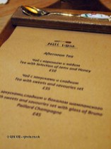 Menu, Afternoon Tea at Mari Vanna, Knightsbridge