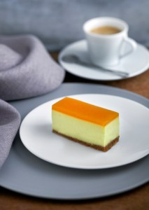 Brillat savarin cheesecake with a coffee crust and apricot glaze