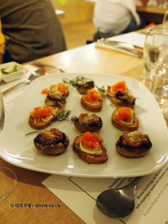 Goat's cheese and stuffed mushroom canapes, Jimmy's Supper Club at Annex East