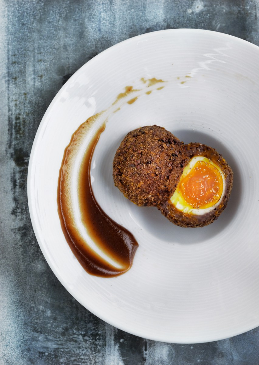 Smoked venison Scotch egg with espresso brown sauce recipe