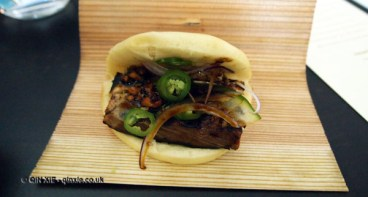 BBQ pork belly buns with spicy peanut soy