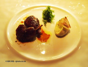 Free range quail stuffed with foie gras and truffled mashed potatoes, l'Atelier de Joel Robuchon, London