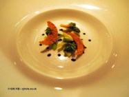 Green asparagus cappuccino served with golden croutons, l'Atelier de Joel Robuchon, London