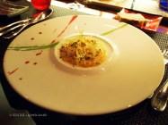 Scottish scallops Carpaccio, sea urchins and lemony olive oil, l'Atelier de Joel Robuchon, London