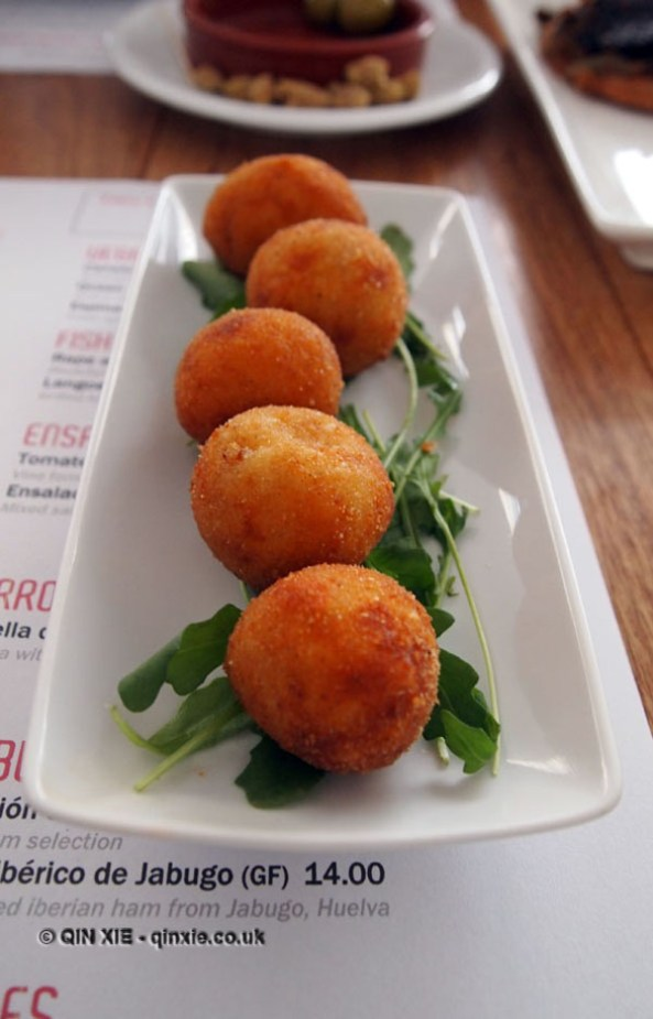 Cheese croquetas at Mallorca Week, Boqueria, Brixton