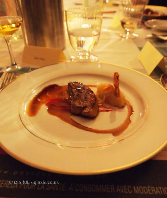 Almond, foie gras and red plum, celery and ginger cream, port jus reduction, Pays d'Oc dinner at Gauthier Soho