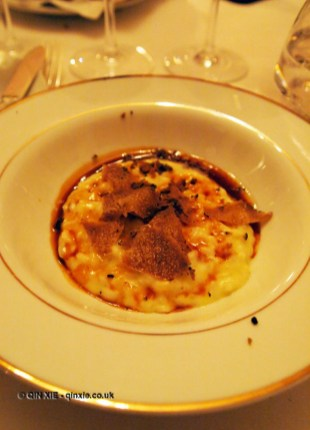 Black winter truffle risotto, brown butter, Brancott Estate dinner at Gauthier Soho