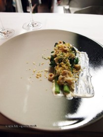 Crab – purple sprouting broccoli, lemon, panko crumbs, macademia nuts, parsley, Bubbledogs Kitchen Table, Fitzrovia