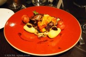 Grilled cannon of lamb, saffron potatoes, pipperade and olives, Languedoc wines at Apero, Ampersand Hotel