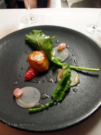 Scallop – rhubarb, turnips, cabbage, Bubbledogs Kitchen Table, Fitzrovia