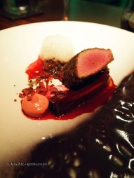 Sika deer with black pudding and parsley roots, smoked bacon, Douglas fir and peanuts, L'Autre Pied, Marylebone