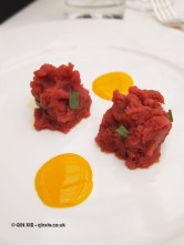 Cold beef emulsion with oil and tarragon with raspberry mayonnaise, Ristorante Reale, Abruzzo