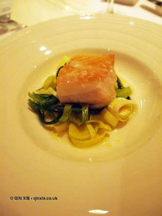 Pan-fried pollock with a vinaigrette of razor clams, barba di frate and leek hearts, Sonny's Kitchen, Barnes