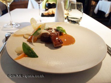 Pork belly with pork cheek, carrot puree, jus, pomme puree, spinach, carrot, Vrijmoed, Ghent