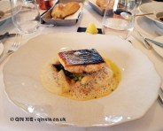 Roast fillet of wild sea trout, white asparagus, girolle, horseradish & creamed coco beans, Galvin at Windows, London