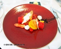 Salad of heirloom tomato, buffalo mozzarella, watermelon & black olive caramel, Galvin at Windows, London