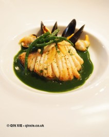 Poached and pan fried skate with mussels, cockles, watercress, smoked eel, Vrijmoed, Ghent