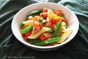 sugar snap peas, tomatoes, peppers, pasta