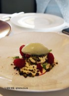 White chocolate mousse, raspberry, pistachio crumb & green tea ice cream, Galvin at Windows, London